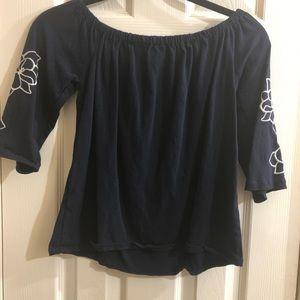 Navy Blue Off shoulder XS JCrew Shirt